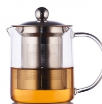 Стеклянный чайник с металлической колбой